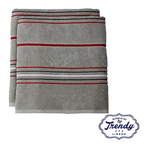 Evan Stripe Bath Towels - Bathroom Shower Collection - Set o