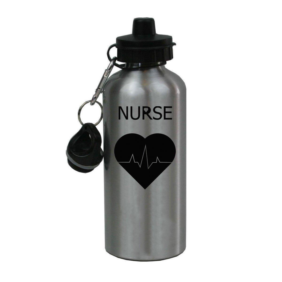 Personalisierte Custom RN, LPN, CNA Krankenschwester Pulse Aluminium silber Finish 20 Unze Wasser Flasche anpassbare