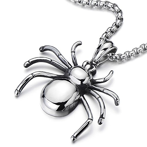 COOLSTEELANDBEYOND Stainless Steel Spider Pendant Necklace for Men for Boys Polished with 30 Inches Wheat Chain