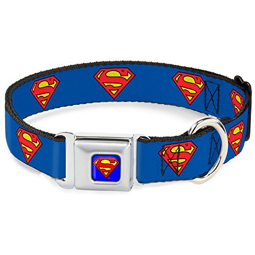 "Buckle-Down 15-26"" Superman Shield Blue Dog Collar, Large"
