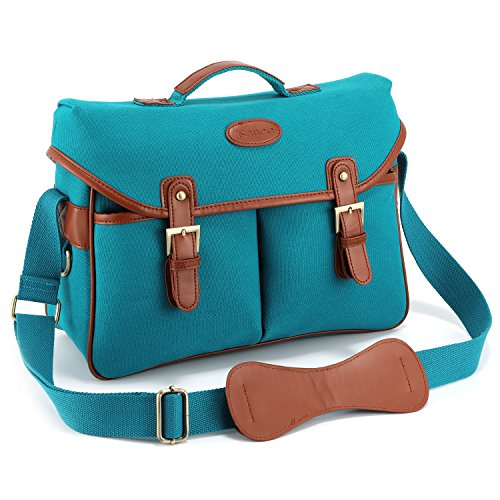 Kattee Fashion PU Leather Canvas DSLR Mirrorless Camera Shoulder Bag for Canon Nikon, etc (Large, Blue)