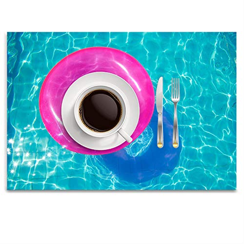 GPUnfdvc Summer Hacks Pool Toys Washable Fabric Placemats for Dining Room Kitchen Table Decor,14.8 x 9.9 inch for $<!--$6.95-->