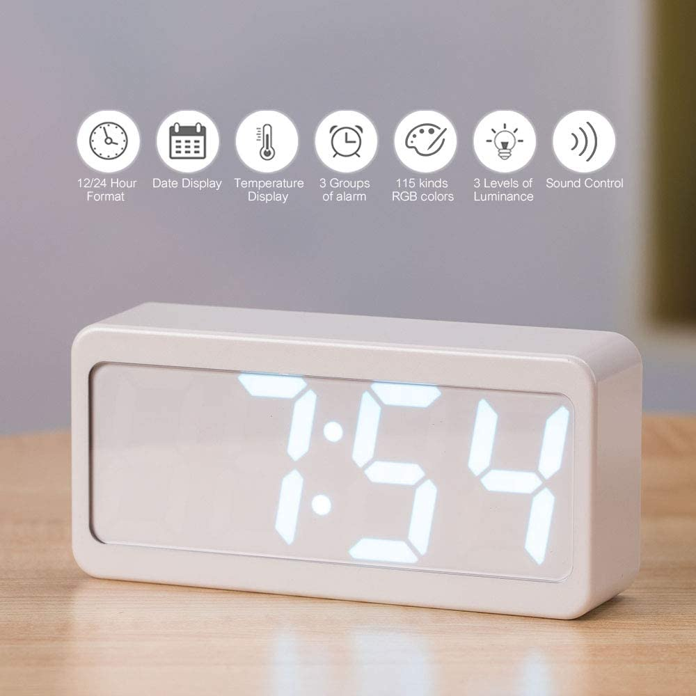Weehey USB/Battery Powered Digital RGB LED Alarm Clock Time/Temperature/Date Display 115-Color Changing 3-Level Brightness Sound Control Desktop Alarm Clock-White