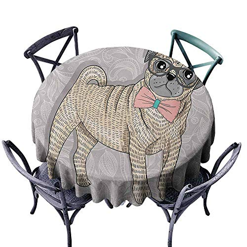 ablecloth Pug Hipster Pug with Nerdy Glasses and Bow Tie Cartoon Design Funny Pale Grey Pale Yellow Pale Pink Soft and Smooth Surface D35 ()