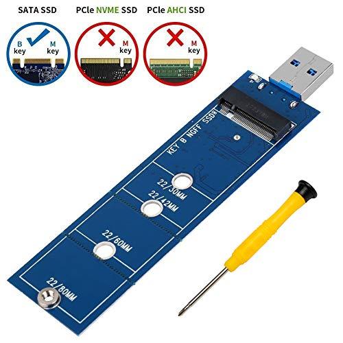 SHINESTAR M.2 USB Adapter (No Need Cable), M2 SSD (SATA Based B Key) to USB 3.0 Reader, Work as Portable Flash Drive or External Hard Drive, Support 2230 2242