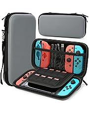HEYSTOP Fodral kompatibelt med Nintendo Switch, skyddande hård bärbar resväska skalfodral kompatibel med Nintendo Switch-konsol och tillbehör (grå)