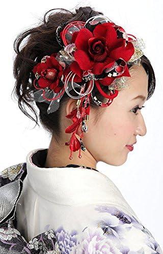 花髪飾り かんざし 赤レッド[ 成人式 振袖 卒業式 袴 着物 和装 簪 髪型]