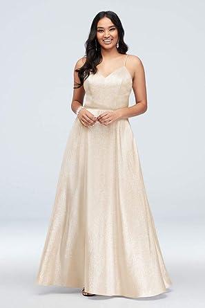 5744611d079 David s Bridal Lace-Up Metallic Spaghetti Strap Prom Dress Style 60305D