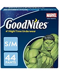 Bedtime Bedwetting Underwear for Boys, S-M, 44 Ct. (Packaging May Vary)