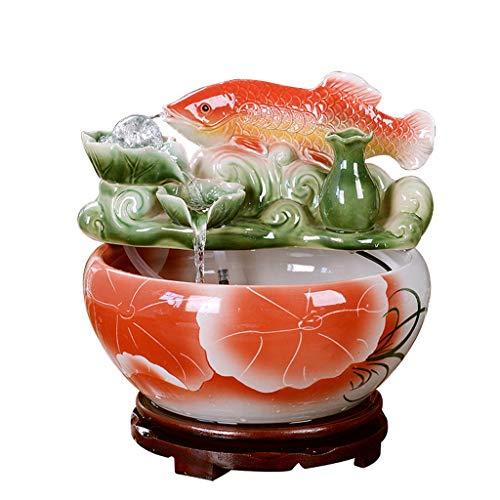 Desktop Waterfall,Ceramic Fish Tank,Small Goldfish Tank Water Fountain,Humidifier,Living Room Home Aquarium (Size : 32x32x33cm) ()