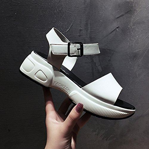 de zapatos de blanco ligero libre aire de zapatos mujer palabra de romanos playa de punta grueso talón zapatos fondo deportes estudiante mujer al oca abierta plataforma hebilla nuevo SOHOEOS sandalias verano AR5wBB