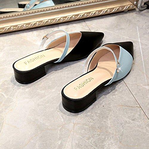 Ouvert Carrés Mules Arrière Pointu Tongs OL Noir Strass Talons Chaussures Mode Sandales Femmes Casual Bleu qIIwvF