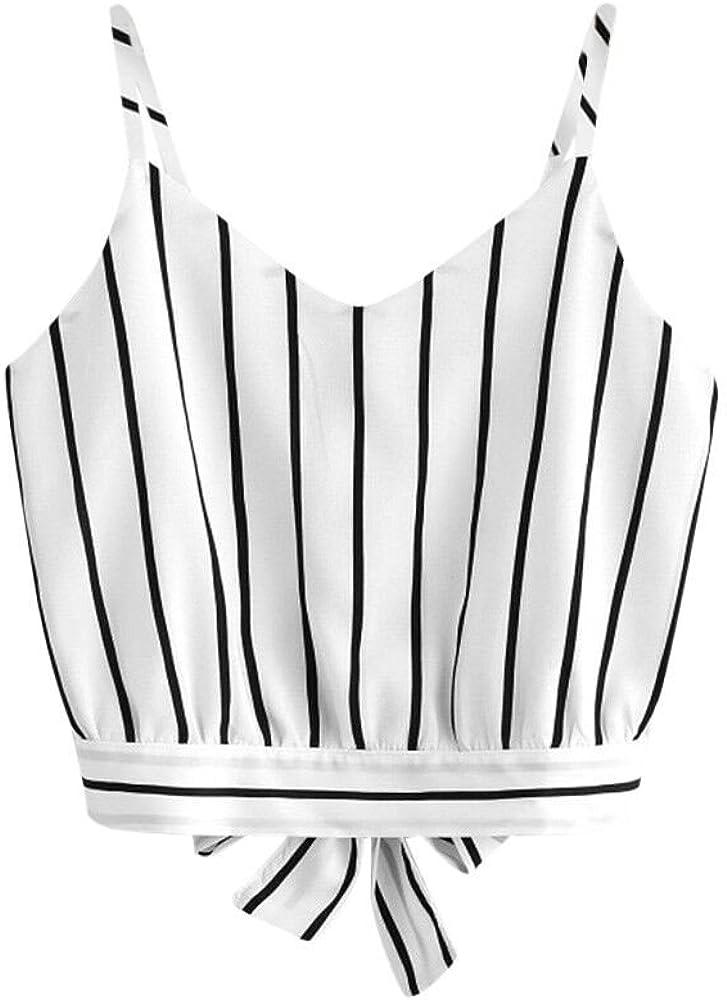 LEKODE Women Striped Camisole Self Tie Fashion V-Neck Vest