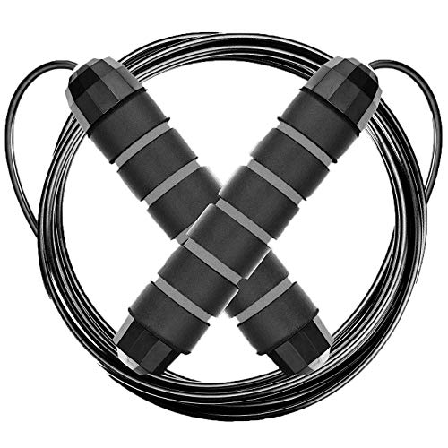Jump Rope for Speed and Agility Training | Premium Quality Skipping Rope - Anti-Slip Foam Handles and Adjustable Cable - Perfects Double Unders - Best Equipment for Fitness, MMA, Boxing, WOD, Crossfit