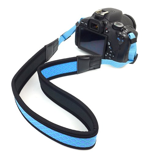 BIRUGEAR Anti-Slip Soft Neoprene SLR Digital Camera Shoulder / Neck Strap for Canon Nikon Samsung Olympus Sony Fujifilm Panasonic Pentax and more - Blue and Black
