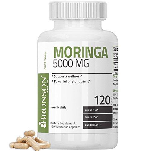 Bronson Moringa 5000 mg Extra High Potency Energizing Superfood Antioxidant, 120 Vegetarian Capsules