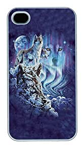 iPhone 4S Cases and Covers,10 Wolves Custom Slim Hard Case Snap-on PC Plastic Case Cover Shell for Apple iPhone 4S/4 White