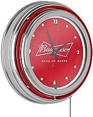 Trademark Gameroom Budweiser Chrome Double Rung Neon Clock - Bow Tie