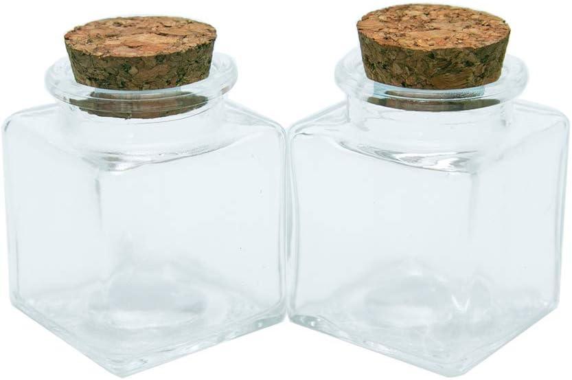 6pcs 50ml Frascos de Vidrio Vacía Transparente con Corcho, Mini Botellas de Cristal Cuadrado, Adecuado para Casarse Botella Pequeña al por Mayor Que Desea