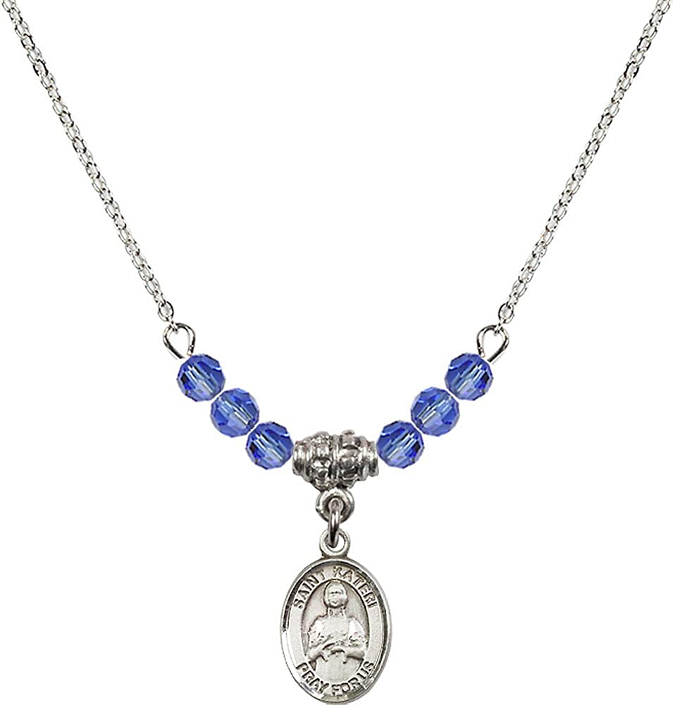 18-Inch Rhodium Plated Necklace with 4mm Sapphire Birthstone Beads and Sterling Silver Saint Kateri Tekakwitha Charm.