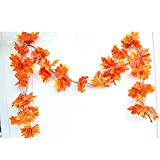YEJI 12pcs 88 Inch Artificial Ivy Red Maple Leaf Leaves Garland Plants Vine Fake Foliage Flower Home Garden Decorations or decorating home, hotel, wedding, party, garden, fences, etc.