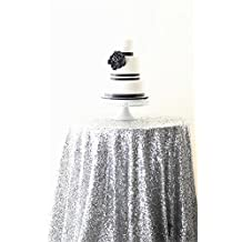 Father's Day Promotion!Diameter 48'' Round Silver Sequin Tablecloths, Silver Sequin Round Table cloths, Silver Sequin Table linens for Wedding