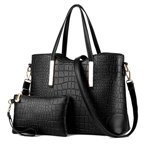 Luxury Crocodile Wallets Womens Tote PU Bag Purses Leather Shoulder Handbags 2PCS Grain Set Black Katoony and tqUxwdEOtv