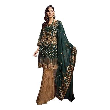 49342edb23 Amazon.com: Blue Stylish Lehenga Silk Wedding Ethnic Zari Handwork Ghagra  Choli Dupatta Indian Women 7521: Clothing