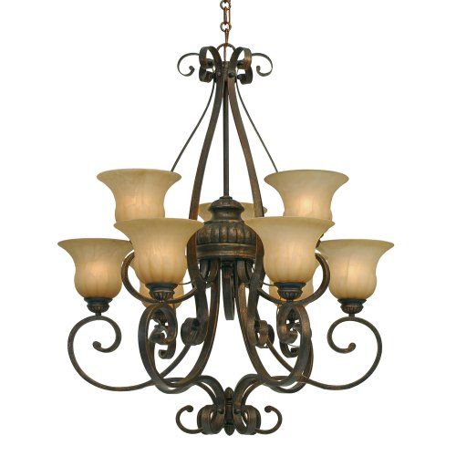 Lc Leather Crackle Finish - Golden Lighting 7116-9 LC Mayfair Chandelier-Large, Fixture Size: 32 W x 37-Inch H, Leather Crackle
