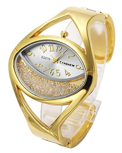 Top Plaza Women Ladies Casual Luxury Gold Silver Tone Alloy Analog Quartz Bracelet Watch Oval Case Rhinestones Decorated Elegant Dress Bangle Cuff Wristwatch-Gold #1 (Bangle Quartz Watch Bracelet)