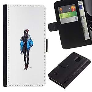 NEECELL GIFT forCITY // Billetera de cuero Caso Cubierta de protección Carcasa / Leather Wallet Case for Samsung Galaxy Note 4 IV // Goth polluelo