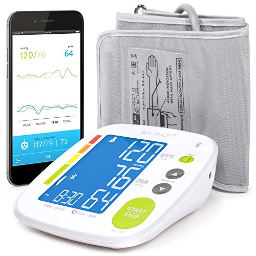 Smart Blood Pressure Monitor Cuff by GreaterGoods, Free App Smart Connected BP Monitor, Upper Arm Cuff, with Large Digital Display, Kit Complete with Soft Case (Renewed)