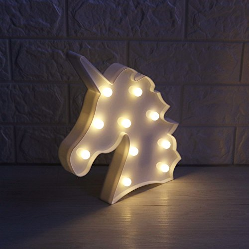 Unicorn Marquee Battery Light with 10 Warm White LEDs Home Decoration LED Marquee Sign LED Light up Unicorn Letters (White)