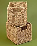 Tall Slim Wooden Multi Use Space Saving Cabinet Organizer or Baskets (Set of 2 Baskets)