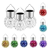 Set of 3 Solar Crystal Hanging Mosaic Lights Color Changing Led Lantern Weatherproof Solar Powered Rechargeable Crackle Glass Ball Lamp for Garden Patio Outdoor Yard Window Party Tree Decorations