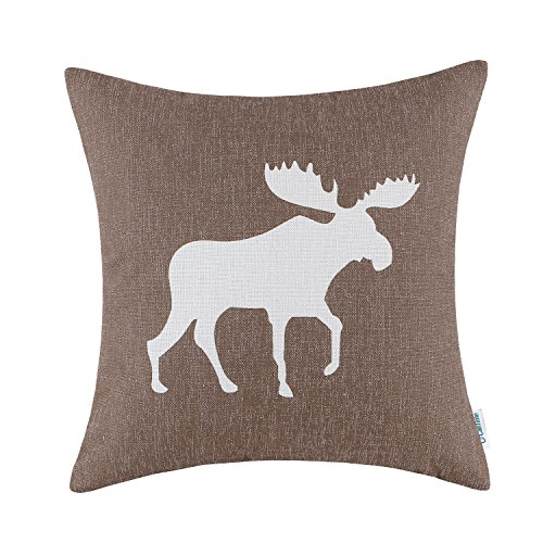 Euphoria CaliTime Cushion Cover Throw Pillow Shell Vintage Moose Shadow Print 18 X 18 Inches Coffee