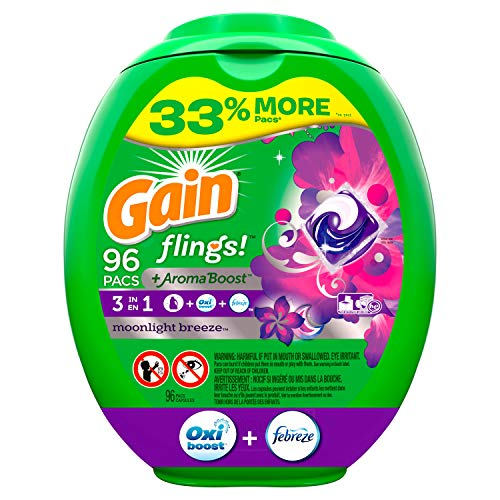 Gain Flings! Liquid Laundry Detergent Pacs, Moonlight Breeze, 96 Count