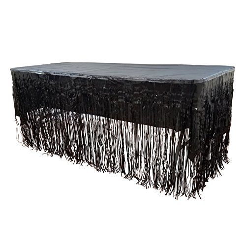 New! Set Of Black Metallic Foil Fringe Table Skirt 30