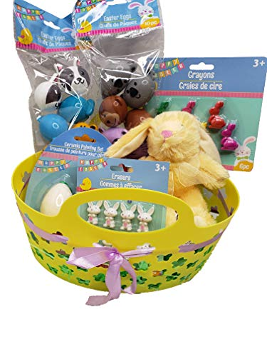 Easter Basket For Boys And Girls! Plush Bunny, Plastic Eggs, Crayons, Erasers! Your Child Will Have The Best Easter Ever With This Set!