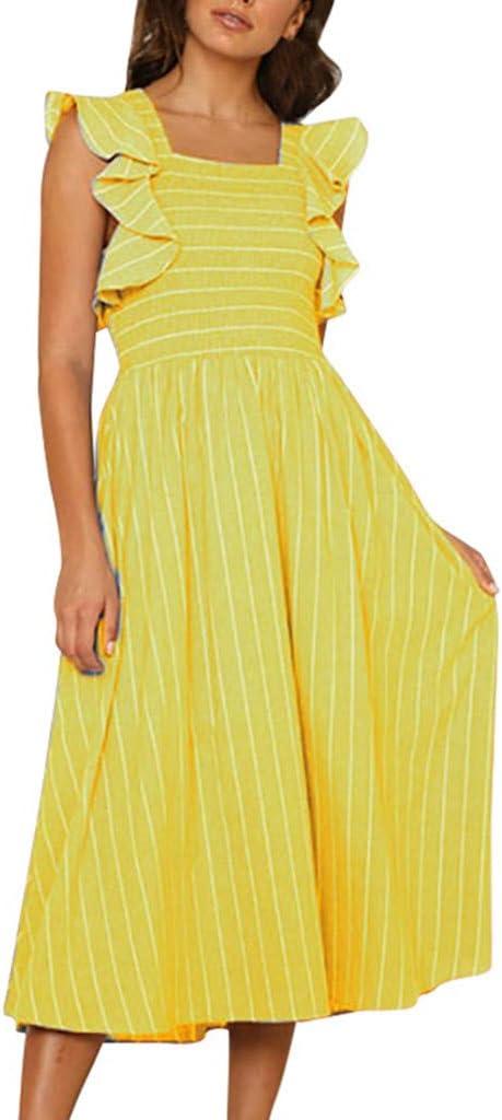 Vestido de Mujer Sin Tirantes, Vestido Larga asimétrica de Rayas y de Manga Larga para Mujeres Fondo de Robe daysing Amarillo S: Amazon.es: Informática