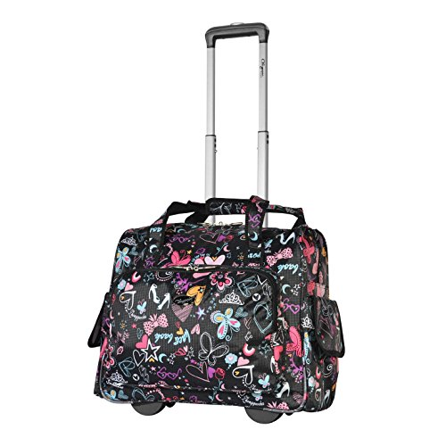 Olympia Deluxe Fashion Rolling Overnighter (BUTTERFLY) - Laptop Bag Wheels