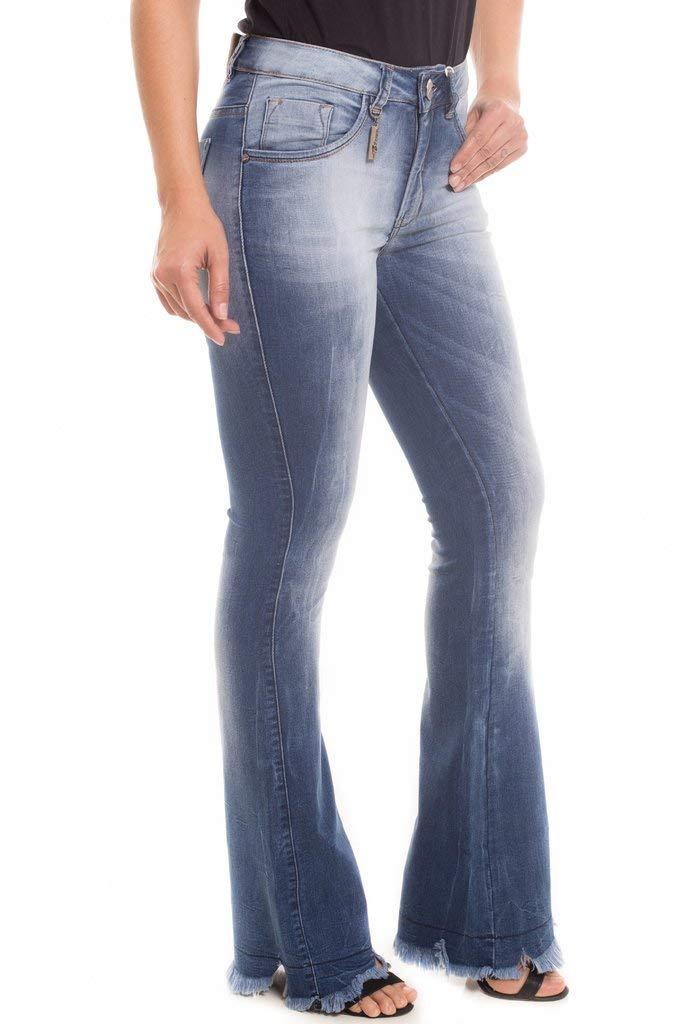 06b9f23a2 Calça Jeans Denuncia Mid Rise Flare Azul 36  Amazon.com.br  Amazon Moda
