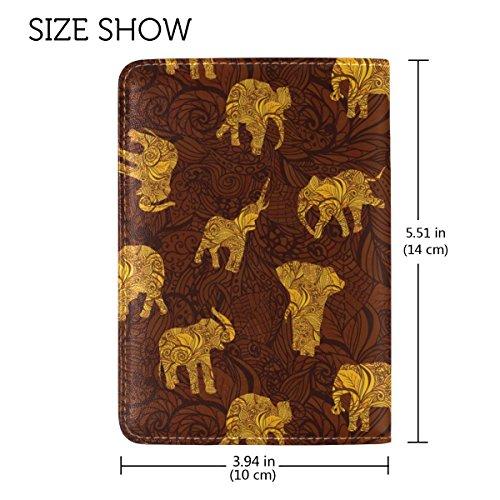 Coosun Elefanten im indischen Stil Leder Passhülle Cover für Travel One Pocket