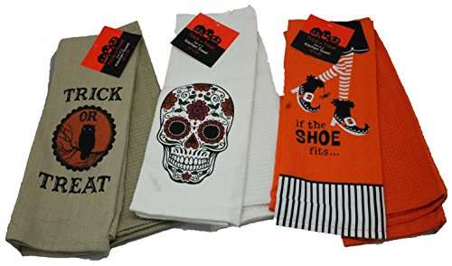 (Twisted Anchor Trading Co Set of 6 Halloween Kitchen Towels - Great Gift Set - Comes in An Organza Bag)