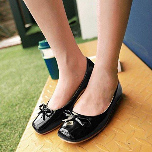 Bowknot Escarpins Noir De Chaussures TAOFFEN Taille Enfiler Femmes Decontracte A Petite T77wzZ