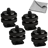 Patuo Shoe Mount Adapter 1/4'' Tripod Mount Screw to Flash Hot Shoe Adapter for Camera and Monitor (Pack of 4)