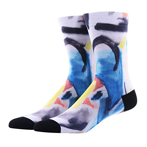 Funky Crew Socks for Men, MEIKAN Coolmax Digital Print Novelty Cute Pattern Colorful Elements Mid Calf Socks 1 Pair-multicolor 2,One Size (Print Holiday Socks)