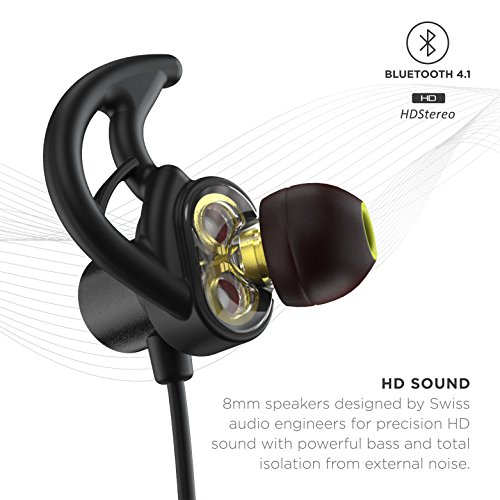 Phaiser BHS-790 Bluetooth Headphones with Dual Graphene Drivers and AptX Sport Headset Earphones with Mic and Lifetime Sweatproof Guarantee - Wireless Bluetooth Earbuds for Running, Blackout by Phaiser (Image #1)