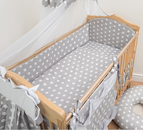 5 Pcs Baby Bedding Set Padded Safety Bumper Fits Cot Bed 140x70 cm, Pattern 9