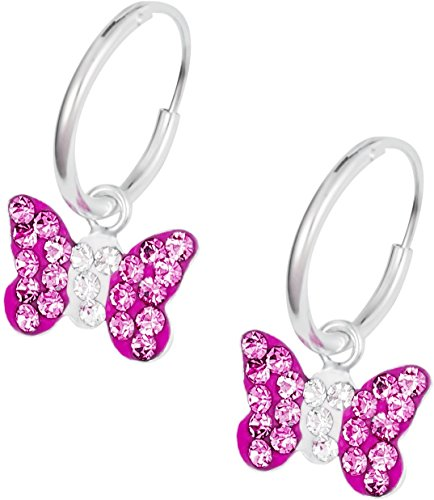 - Hypoallergenic Sterling Silver Pink Crystal Butterfly Tiny Hoop Earrings for Kids (Nickel Free)